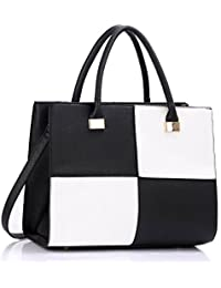 16c04873619a LeahWard Ladies Women s Fashion Designer Quality Chic Tote Bags Handbags  CWS00153L (BLACK WHITE)