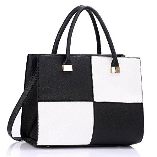 LeahWard® Damen Mode Essener Große Größe Qualität Chic Tragetaschen Handtaschen CWS00153L CWS00153M Schwarz/Weiß