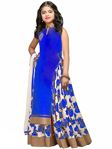 Spangel Fashion Girls\' Bhagalpuri Semi-Stitched Lehenga Choli (spangel_kids Blue, 11-15 Year)