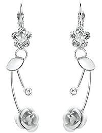 Glamorousky Elegante Silberne Rose Ohrringe Mit Silbernen Austrian Elements -Kristallen Und Kristallglas (762)