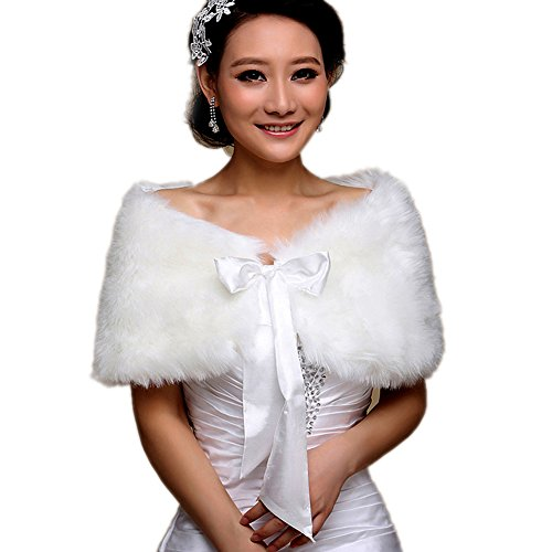 YANIBEST Elegant Long Hair Faux Fur Wedding Shawl Stoles Wraps Cape for Women (4 styles)