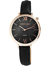 Reloj mujer nácar negro oro números romanos Analógico Cuero Reloj de pulsera d955720a4a9b