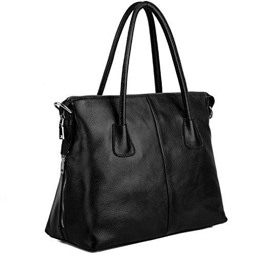 Yaluxe Damen Vintage Style Soft Leder Satchel Purse Shopper gross Schultertasche passt 13 Zoll Laptop schwarz -