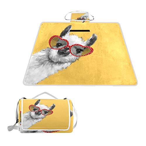 Sotyi-ltd Fashion Hipster Llama mit Brille, Picknick-Matte für den Strand, Wandern, Camping, Park Gras, groß, 144,8 x 149,9 cm