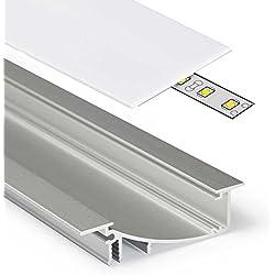 2M Aluminio Perfil Flat (FL) 2metros–Tira de–Perfil de aluminio anodizado para tiras LED con cubierta–Set de riel (Slide) lechoso de color blanco (Opal) transparente de Transparente con montaje de grapas y tapas, milchig-weiß (opal) slide, keine