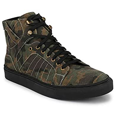 SHENCES MENS GREEN CANVAS ARMY PRINT SNEAKER BOOT (Colour- GREEN, Size- 11)