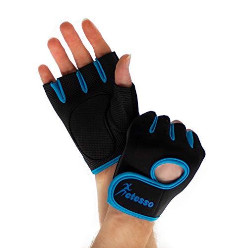 actesso guanti da palestra per lo sport - sollevamento pesi per uomini e donne, esercizio di canottaggio, allenamento crossfit. (piccola, blu)