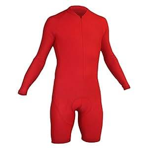 Impsport contre-la-montre Cyclisme à manches longues Combinaison–Rouge, Homme, Red, x-large