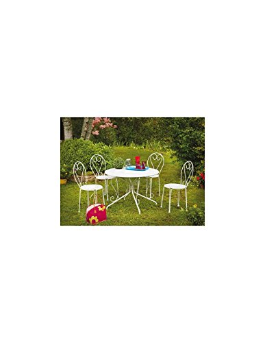 Ozalide 7039 Casablanca Table + Parasol Hole Steel White 96 x 72 cm