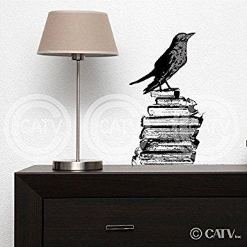 alloween Vinyl Schriftzug Aufkleber Aufkleber Art Home Decor Crow ()