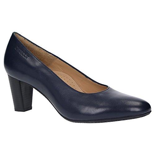 Zweigut Hamburg- smuck #214 Damen Leder Pumps Nappaleder Sommer Business Schuhe Komfort Laufsohle, Schuhgröße:40, Farbe:Nachtblau