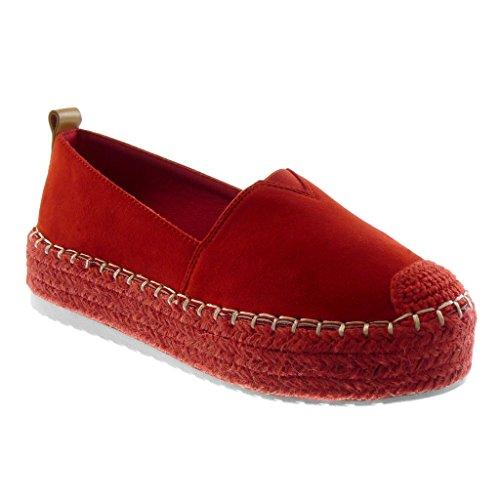 Angkorly Damen Schuhe Espadrilles - Plateauschuhe - Bi-Material - Seil - Elastisch - Fertig Steppnähte Flache Ferse 4.5 cm - Rot BL236 T 37