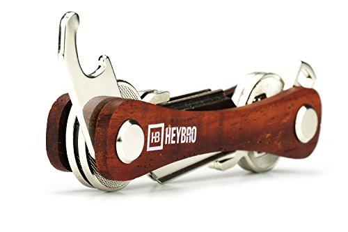 Premium Holz Schlüssel Organizer von HEYBRO ★ optimale Schlüsselaufbewahrung in edelem Design ★ hochwertiger Key Organizer mit praktischem Flaschenöffner und Öse (2-10 Schlüssel)