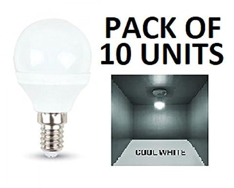 V-TAC LED 3W P45Golf Ball Leuchtmittel–10Stück–E14/SES/Kleines Edisongewinde, Cool Weiß 6400K/250Lumen/Kunststoff-Finish/entspricht 25W Glühlampe/20.000Stunden durchschnittliche Lebensdauer/nicht dimmbar/220–240V–180Grad Abstrahlwinkel/50Hz/SKU: 7201x 10