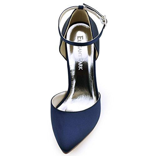 ElegantPark HC1602 Donna Satin Scarpe A Punta Cinturino Alla Caviglia Tacco A Spillo Pompe Partito Scarpe Da Sposa Blu Marina