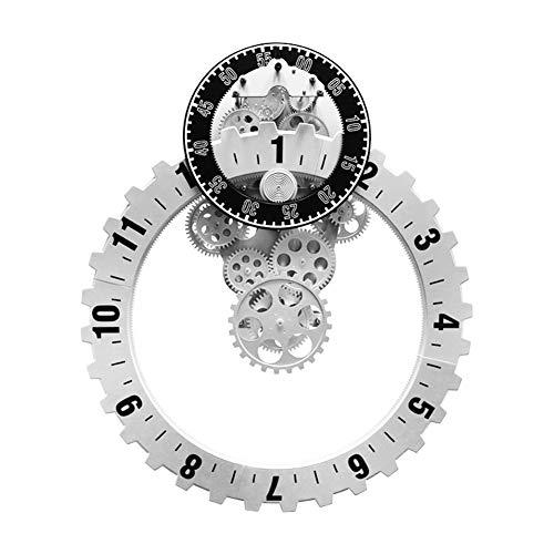 BGGZXX Reloj de Pared del Engranaje Reloj electronico Retro Reloj mecánico, Creativo Mudo Sencillo, Adecuado para Sala Habitación,White