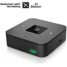 Giveet aptX BAJO LATENCIA Bluetooth transmisor receptor de audio para TV, enlace doble, sin retraso, OPTICAL, 3,5 mm AUX y RCA adaptador inalámbrico ...