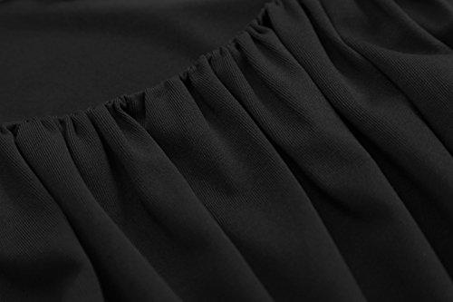 Belle Poque 50s Rockabilly Retro Vinatge Kleid A Linie Knielang Spitze Kleider BP291-2(Schwarz)