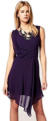 Karen Millen Purple Draped Beaded Necklace Silk Dress