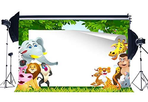 JoneAJ Kinder Geburtstag Kulisse 5X3FT Vinyl Safari Party Kulissen Tiere Welt Park Zoo Cartoon Fotografie Hintergrund für Jungen Mädchen Kuchen Smash Dessert Tisch Tapete Foto Studio Requisiten