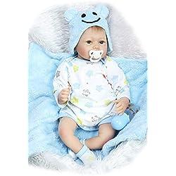 ADZPAB Muñecas Reborn Baby Dolls Hecho A Mano Realista Silicona Baby Soft Doll Boca Magnética Simulación Baby Twins 22 Pulgadas 55 Cm (Color : Boy)