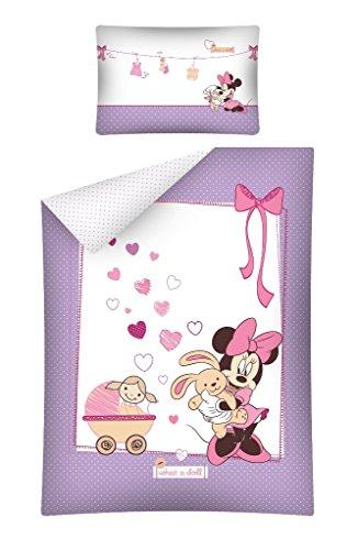 Kinderbettwäsche Disney III 2-teilig 100% Baumwolle 40x60 + 100x135 cm mit Reißverschluss (Minnie Mouse lila)