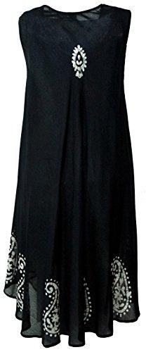 Guru-Shop Tunikakleid XXL, Bestickte Tunika Hippie Chic, Damen, Kunstfaser, Size:46, Midikleider Alternative Bekleidung Schwarz/Weiß