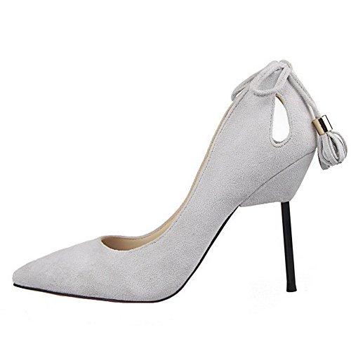 AalarDom Femme Dépolissement Stylet Pointu Tire Chaussures Légeres Gris Clair-Houppe
