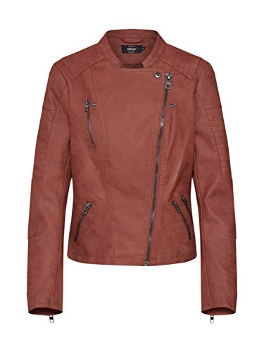 ONLY NOS Damen ONLAVA Faux Leather Biker OTW NOOS Jacke, Braun Cherry Mahogany, Medium (Herstellergröße: 38) Faux Leather