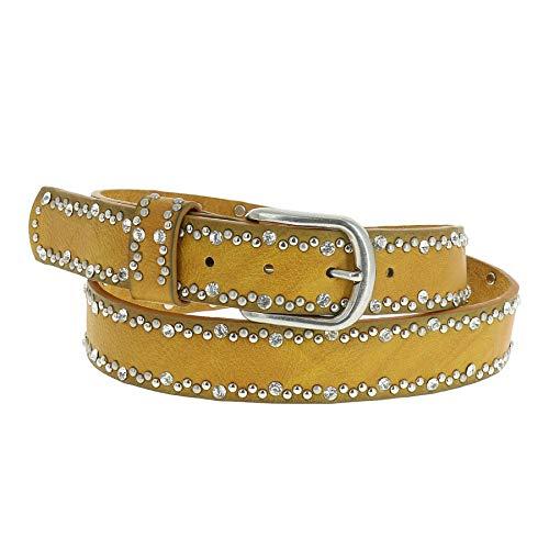 Cinturón amarillo de fiesta con tachuelas y brillantes