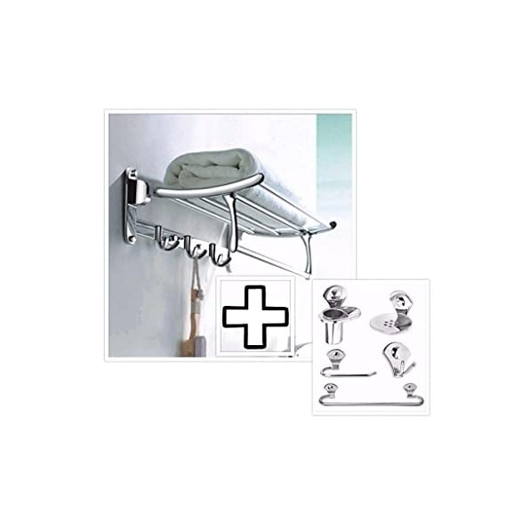 Fortune Stainless Steel 18 inch Folding Towel Rack + Bathroom Accessories Set (Towel Rod/Napkin Ring/Soap Dish/Tumbler Holder/Robe Hook)