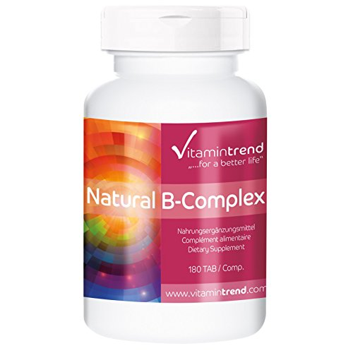 Natürlicher Vitamin B-Komplex, vegan, ohne Magnesiumstearat, 180 Vitamin B-Tabletten, Großpackung für 6 Monate, für Immunsystem und Vitalität (Nagel-schönheit Versorgt)