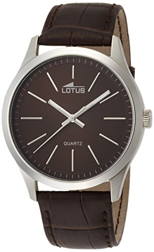 Lotus Men's Quartz Watch with Brown Dial Analogue Display and Brown Leather Strap 15961/2