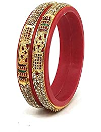 Sai Designer Gold Plated Red Pola Bangle Set For Women (Pack Of 2)