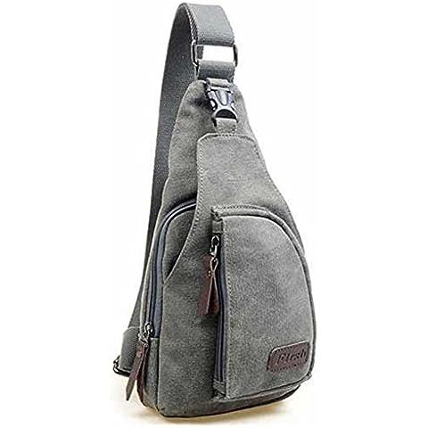 Borsa a tracolla da uomo tela piccola militare cuteme borsa da viaggio escursionismo zaino, Zaino, Grey, 18 L X 8 W X 31 H centimeters