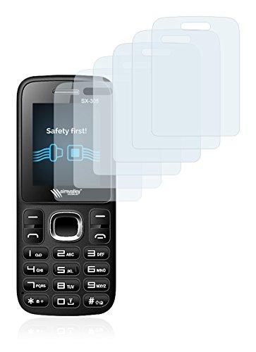 Savvies Schutzfolie für Simvalley Mobile SX-305 [6er Pack] - klarer Displayschutz