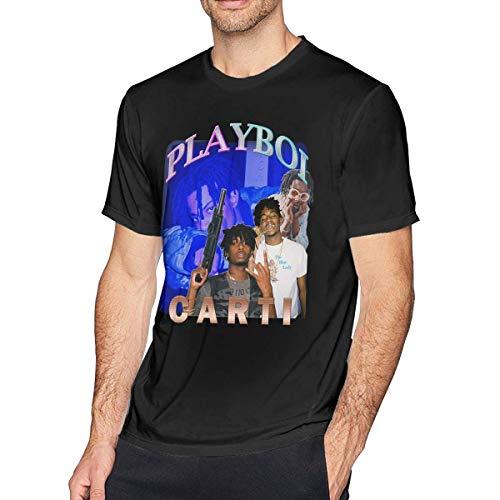 Pimkly Herren Tee T-Shirt Playboi Carti Vintage Men's Short Sleeves Casual T-Shirt Black -