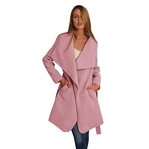 Rosa Kleid Mantel Jacke (BBring Damen Lang Mantel Trenchcoat mit Gürtel Winter Jacke Trench Windbreaker Parka Outwear (XXL, Rosa))