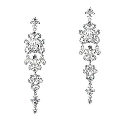 Coucoland 1920s Retro Stil Ohrringe Damen Perlen Dangle Ohrringe Inspiriert von Great Gatsby Damen Kostüm Accessoires (Stil 4-Silber) (Retro Inspirierte Kostüm)