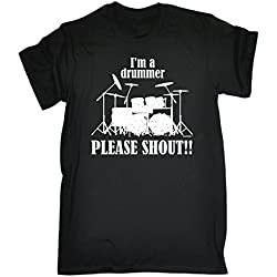 I'M A DRUMMER - PLEASE SHOUT !! (XXL - BLACK) NEW PREMIUM LOOSE FIT T-SHIRT - slogan funny clothing joke novelty vintage retro t shirt top men's ladies women's girl boy men women tshirt tees tee t-shirts shirts fashion urban cool geek drum drum sticks drumkit drum heads cases ear protection pearl snare drummer music percussion brushes day for him her brother sister mum dad mummy daddy father mother birthday ideas gifts christmas present gift S M L XL 2XL 3XL 4XL 5XL - by Fonfella