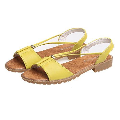 c9fae829acdb cooshional Damen Sandalen Peep Toe Flach Sommer Schuhe Sandaletten Gelb