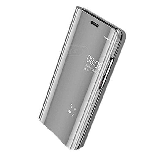 (Huawei P20 Lite Hülle, Huawei P20 Pro Hülle Leder Spiegel Mirror Schutzhülle Flip Case Tasche Cover Handyhülle Lederhülle Etui mit Standfunktion für Huawei P20 2018 (Silber, Huawei P20 Lite))