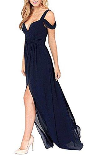 YOGLY Damen Kleid Ärmellos A-Linie Maxikleid Chiffon Strandkleid Ballkleid Cocktailkleid Partykleid Blau