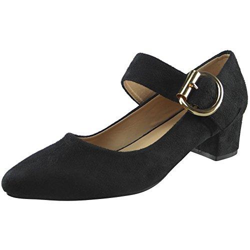 Da donna Mary Janes Basso Metà Tacco Indicato Scarpe da punta Dimensione 36-41 Nero Camoscio