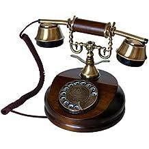 OPIS 1921 CABLE - MODELO A - télefono retro de madera y metal con disco de marcar y campana metálica