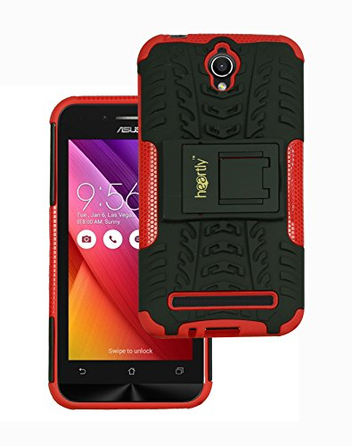 Heartly Tough Hybrid Flip Kick Stand Spider Hard Dual Shock Proof Rugged Armor Bumper Back Case Cover For Asus Zenfone Go 4.5 ZC451TG - Hot Red