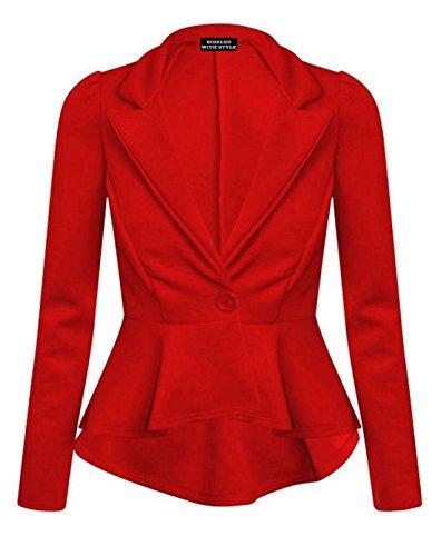 Chaqueta de manga larga para mujer, entallada, con botones y solapas Negro rosso UK 8