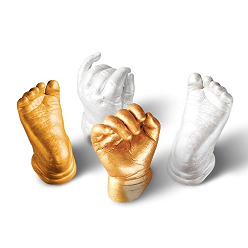 sunnymi 3D Baby Hand Fuß Gips Andenken DIY Schimmel,Handabdruck Fußabdruck Form Hand Fuß Casting Prints Kit Guss Geschenk,Sicherheit Nicht Toxisch Nicht Allergisch 100% Biologisch Abbaubar