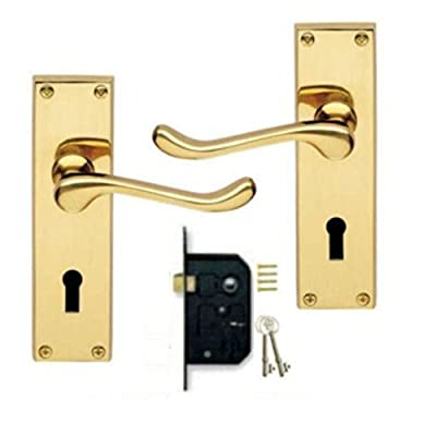 Victorian Scroll Polished Brass Lever Lock Door Handles + 2 Lever Lock Set +2 Keys - cheap UK door handle shop.