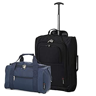 5 Cities Ryanair Cabin Trolley Bag Aprobado y 40x20x25 MAX Size Holdall Flight Bag Set (Negro + Armada)